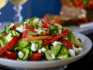 Image: Supplied. Zucchini ribbon, capsicum and feta salad recipe.