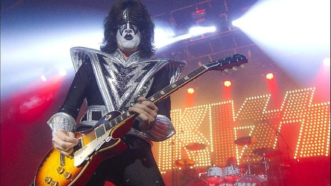 Guitarist Tommy Thayer of rock band Kiss performs in north London earlier this year. Older. Louder. Same sound.