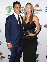 Matt Toomua and Ellyse Perry on the red carpet arriving at the 2014 Allan Border Medal held at Doltone House at Hyde Park.