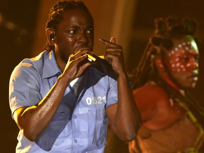 Kendrick Lamar delivers an incredible performance. Picture: AFP