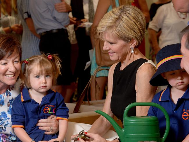 All eyes on the deputy ... Julie Bishop at St Peter's Girls' School on Friday morning. Picture: Keryn Stevens