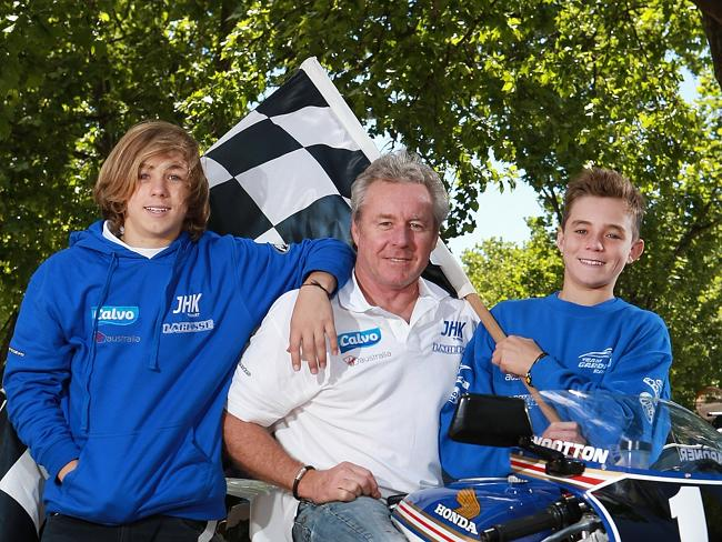Gardner with sons Remy (left) and Luca who entering professional racing. Picture: Chris Scott