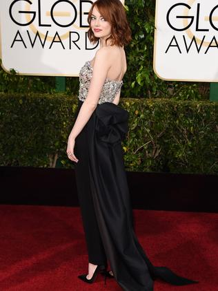 Wearing the pants ... Emma Stone opted not to frock up.
