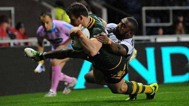 Josh Morris scoring a try during the Rugby League World Cup: Group A match between Australia and Fiji at Langtree Park.