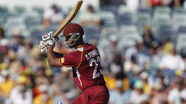 West Indian Kieran Powell plays a shot against Australia at the WACA. Picture AP