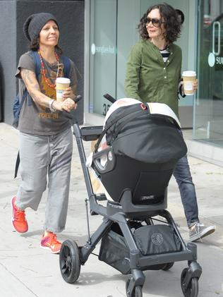 New parents ... Former Roseanne actor Sara Gilbert gave birth to her's and songwriter Linda Perry's son Rhodes in February. Picture: Splash