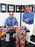 Fashion designers George Gross and Harry Watt in 1992.