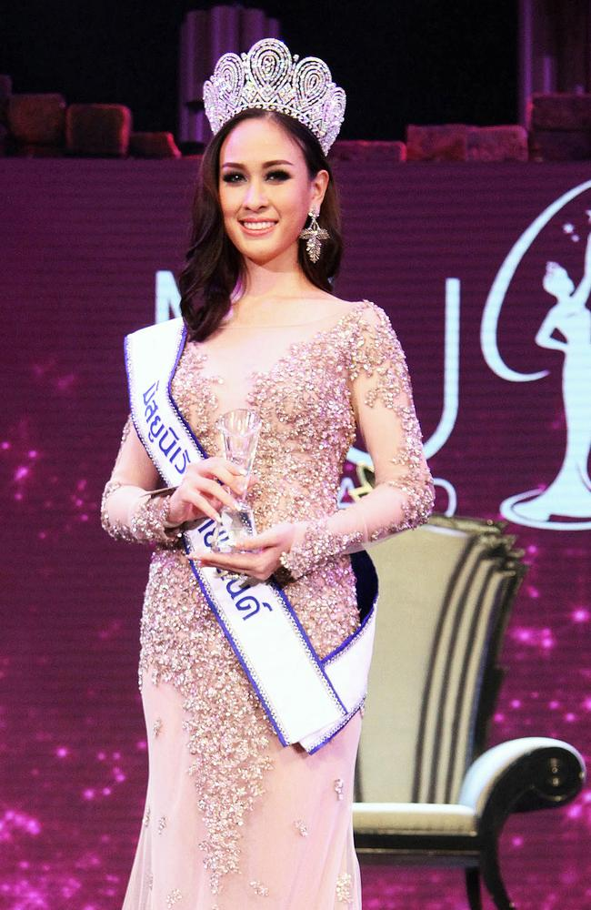 The beauty queen poses after she was crowned Miss Universe Thailand last month.
