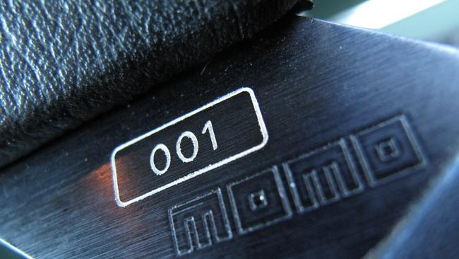 Number one ... the steering wheel in Brock Commodore 001. Picture: Joshua Dowling.