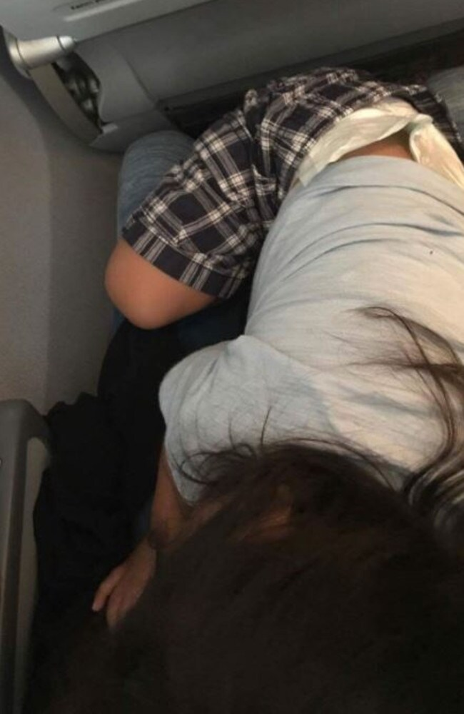 Shirley was forced to endure the flight with 27-month-old Taizo on her lap. Picture: Shirley Yamauchi