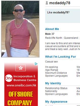 Burley's online dating profile.