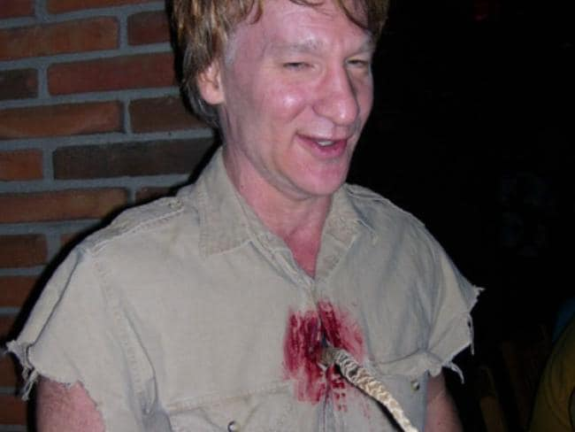 Comedian Bill Maher as Steve Irwin in his Halloween costume with a stingray barb sticking out of his chest in 2006. Picture: News Limited