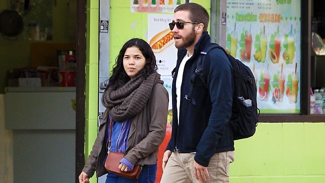 Jake Gyllenhaal and America Ferrera leave brunch together at The Fat Radish. Jake and America enjoyed lunch together on Sunday afternoon at The Fat Radish in NYC's Lower East Side neighborhood before walking back to America's apartment together .Picture: Splash
