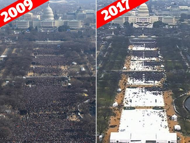 Trump was simply lying about the size of the crowd for his presidential inauguration when compared to that of Barack Obama's in 2009, James Comey says. Picture: AP