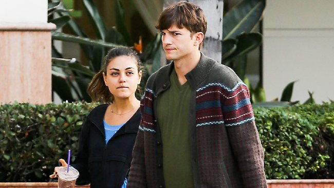 Ashton Kutcher and Mila Kunis make a quick stop at the Coffee Bean in Studio City. Picture: Splash News