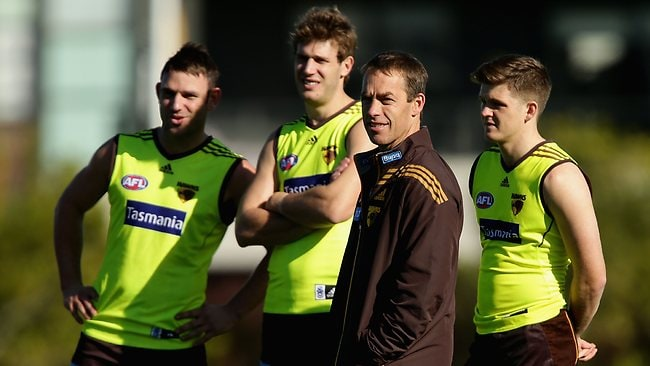 Alastair Clarkson takes a Hawthorn training session at Waverley Park yesterday. He has been approached in the past by Melbourne but says he is not interested.