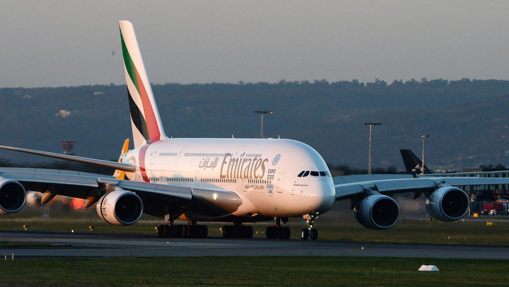 The first a380 emirates service touches down in perth - Emirates camera ...