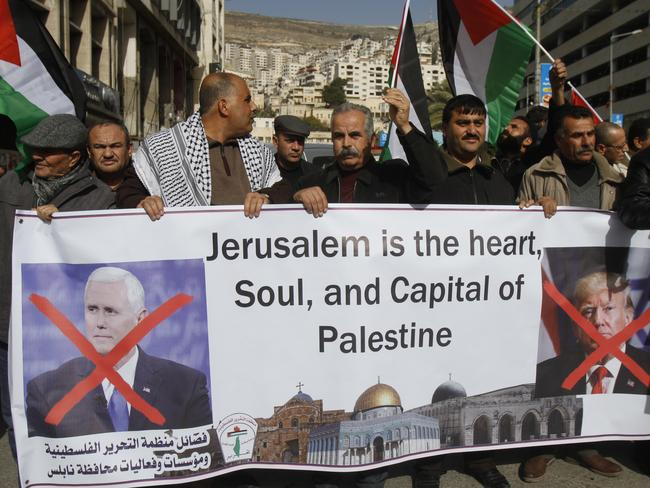 Palestinians protest Mike Pence's Israel visit. Picture: AP/Majdi Mohammedl