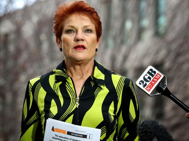 Senator Pauline Hanson speaking at a press conference at Parliament House in Canberra. Picture Kym Smith