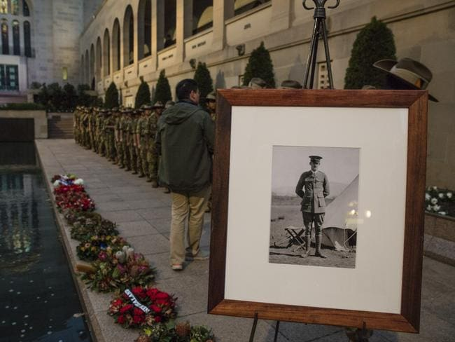 Ivor Margetts was remembered at the Last Post Ceremony on July 23, 2016 celebrating the centenary of the campaign at the Australian War Memorial, Canberra. Picture: Australian War Memorial/Andrew Taylor/Ref: AWM2016.8.110.1