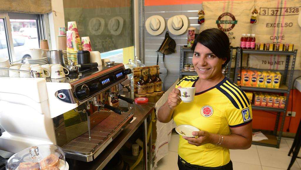 Coffee De Colombia, a new hole in the wall cafe has opened on Charters Towers road offering world class Colombian coffee and treats to local coffee lovers. Owner Nancy Jimenez drinking a authentic Tinto.