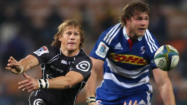 Charl McLeod of the Sharks sends the ball back during the Super Rugby match between DHL Stormers and Cell C Sharks.