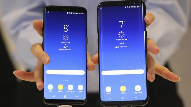 Samsung Galaxy S8 and S8+ smartphones side-by-side. (AP Photo/Lee Jin-man)