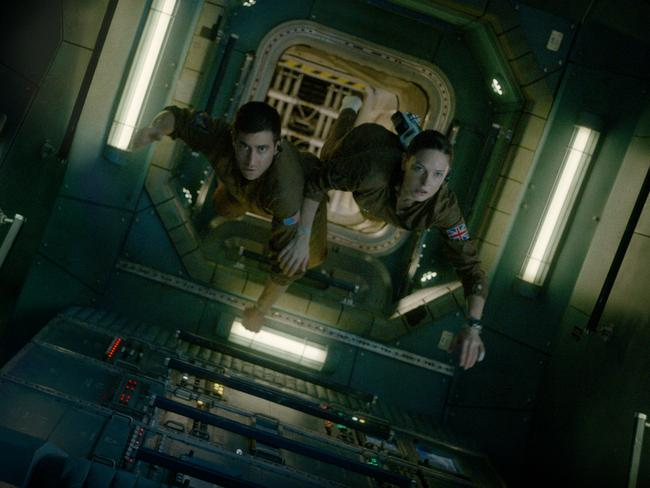 Jake Gyllenhaal Ferguson floating through the space station in Life. Picture: Sony Pictures