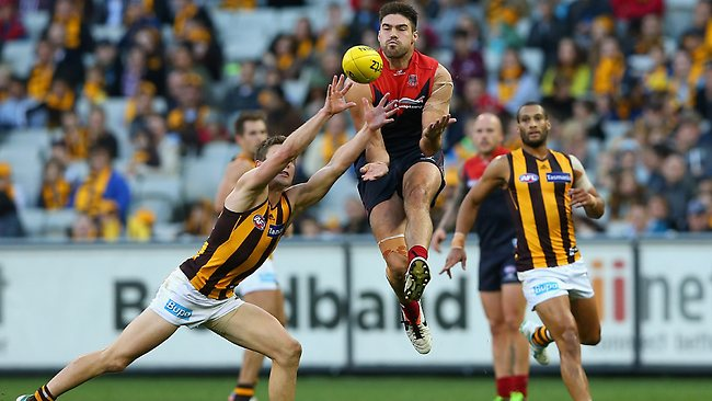 Melbourne forward Chris Dawes was busy in the first half taking seven marks. Picture: Getty