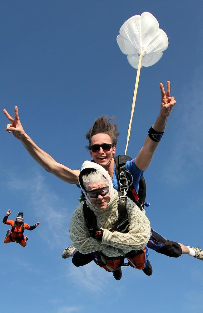 Irene O'Shea, 101, skydives over Langhorne Creek with Jed Smith. Picture: Bryce Sellick/SA Skydiving