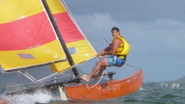 Waratahs player Jeremy Tilse doing a spot of sailing.