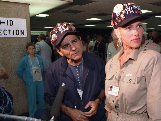 Big in the 80s ... Casey Kasem and second wife Jean talk to reporters at Dulles Airport in 1987.