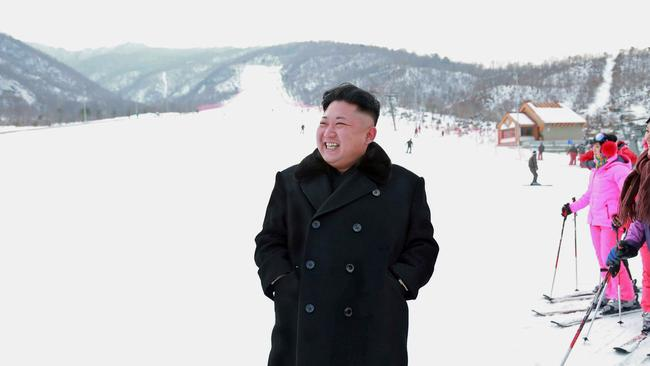 North Korean leader Kim Jong-un inspects the ski resort at Masik Pass, not far from where the proposed underwater hotel would be constructed. Picture: AFP