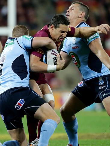 Queensland fullback Billy Slater is tackled during State of Origin III.
