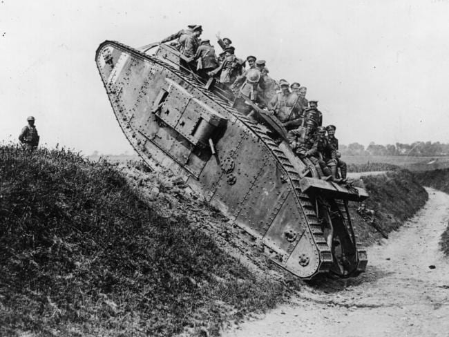 British soldiers enjoy a jaunt on a British Mark IV tank in World War I. Picture: Hulton Archive/Getty Images.