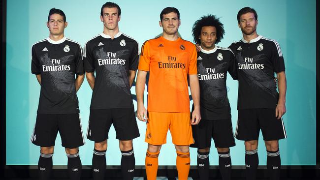 Real Madrid's new Champions League kit at the Santiago Bernabeu stadium in Madrid.