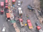 An aerial shot of the horror truck smash at the bottom of the freeway. Picture: Ten Eyewitness News chopper