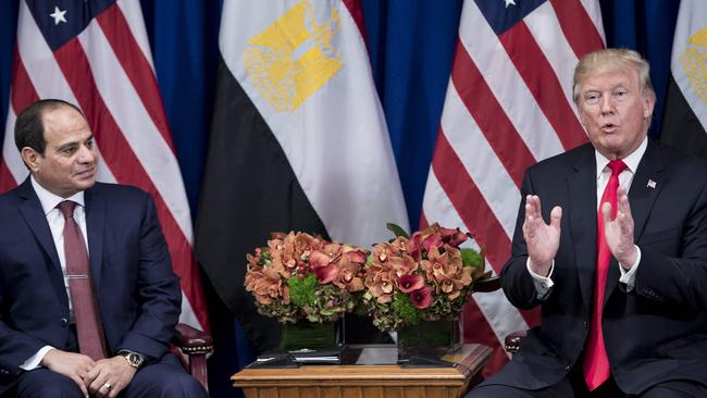 Egypt's President Abdel Fattah el-Sisi listens and US President Donald Trump during the 72nd United Nations General Assembly. Picture: AFP