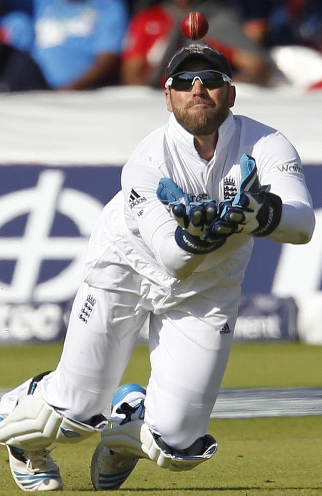 England wicketkeeper Matt Prior catches out India's Ajinkya Rahane during the Lord's Test.