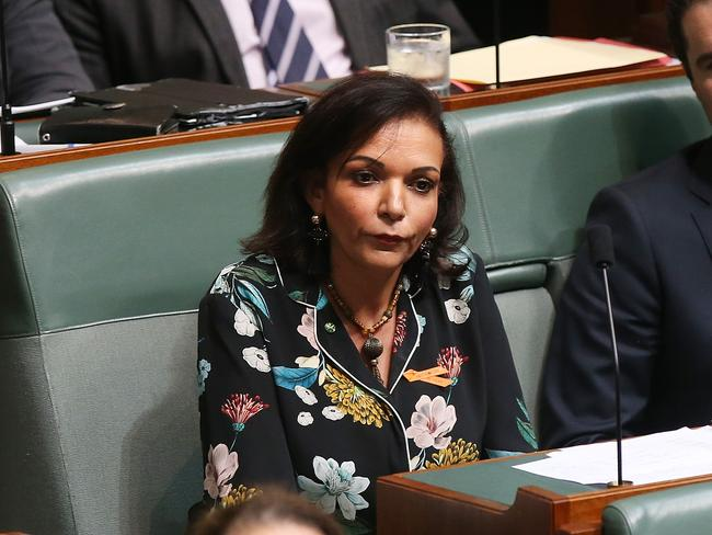 Labor MP Anne Aly in Question Time. She has attacked Senator Hanson's stunt. Picture: Kym Smith