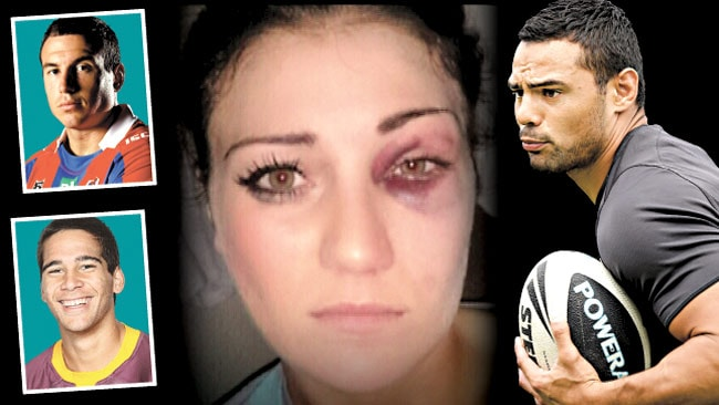 Katie Lewis (centre) alleges Rabbitohs star Ben Te'o (right) assaulted her. The Knights' Darius Boyd (top left) and Bronco Corey Norman (bottom left) were present when the incident occurred.