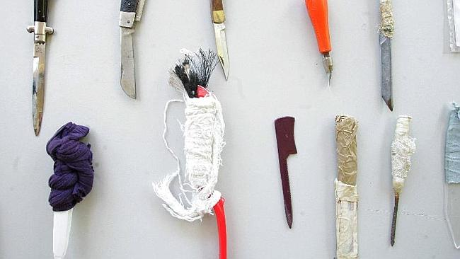 Shiv city: these jail made weapons, some fashioned from toilet or toothbrushes are commonly uncovered in searches of Silverwater prison, where Simon Gittany is held. Picture: New Limited.