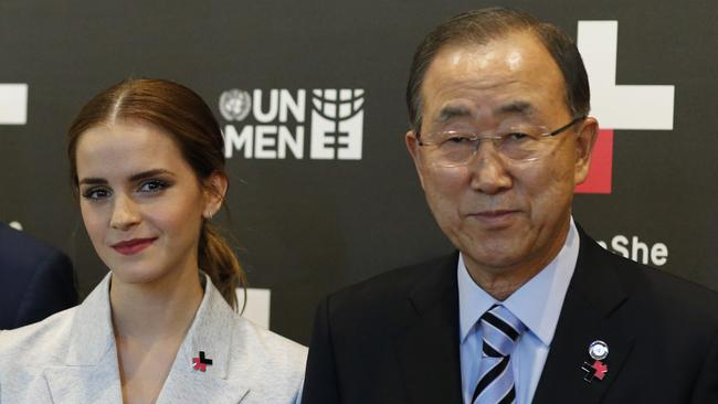 UN Women Goodwill Ambassador Emma Watson and United Nations Secretary General Ban Ki-moon. Photo: Eduardo Munoz Alvarez.