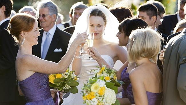 Paige's sister Gwen, played by Aussie actress Jessica McNamee, gets married in a classic whi...
