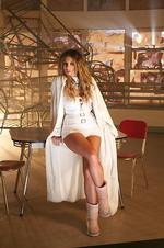 Ricki-Lee Coulter on the set of her video clip for her single 'Crazy'. Picture: Emi