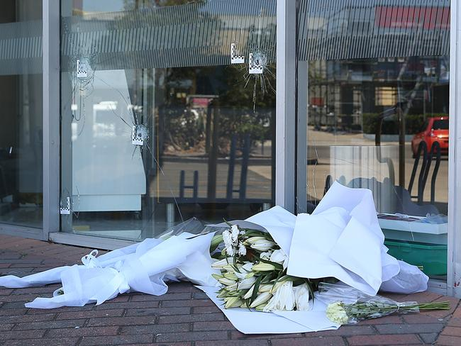 Flowers out the front of Fitness First, Rockdale where Mick Hawi was shot and later died. Picture: NewsCorp