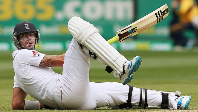 Kevin Pietersen ends up on the floor during the Boxing Day Test. Picture: Colleen Petch