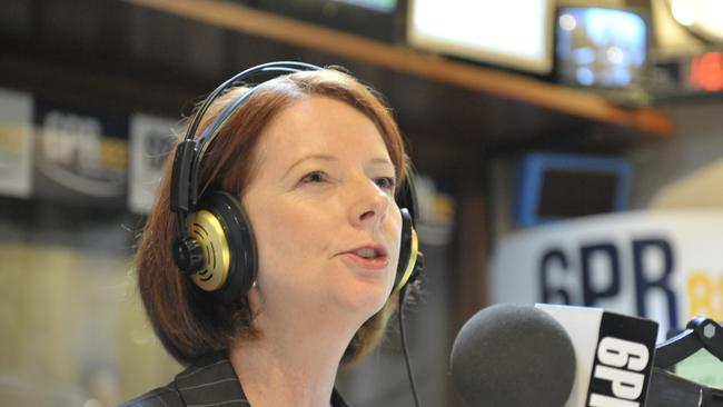 Prime Minister Julia Gillard during her now infamous interview at Perth radio station 6PR. Picture: Kerris Berrington