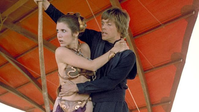 Carrie Fisher as Princess Leia in a scene from Return of the Jedi. Picture: AP