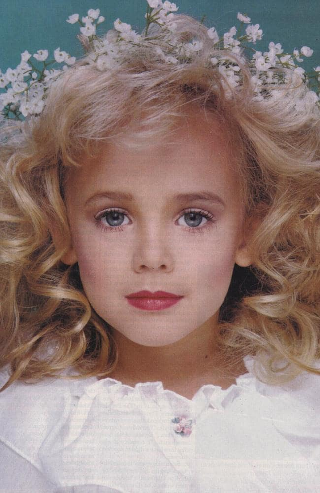 Iconic: The best known photograph of JonBenet Ramsey, who was found murdered in her family's Colorado basement in 1996. Nobody has ever been charged with the crime. Picture: Polaris/australscope